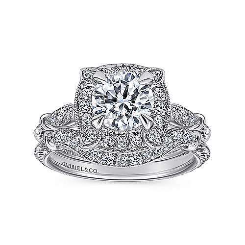 Helene 18k White Gold Round Halo Engagement Ring angle 4