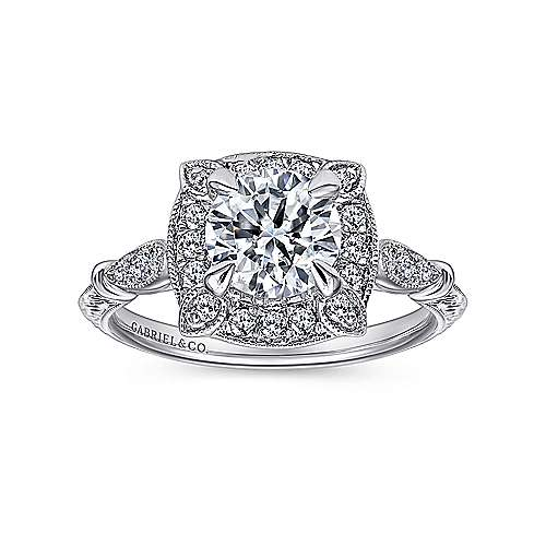 Helene 18k White Gold Round Halo Engagement Ring angle 5