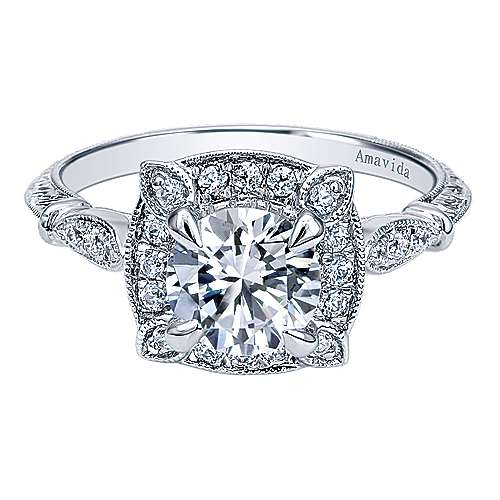 Gabriel - Helene Platinum Round Halo Engagement Ring