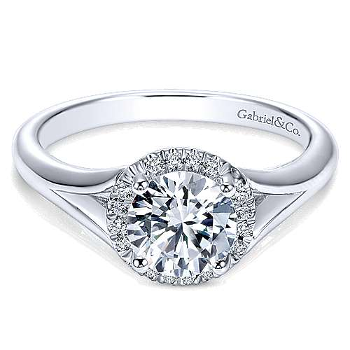 Gabriel - Henley 14k White Gold Round Halo Engagement Ring