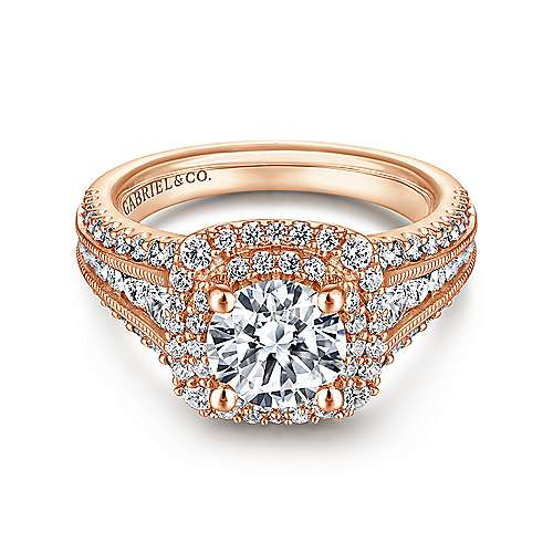 Henrietta 14k Rose Gold Round Double Halo Engagement Ring angle 1