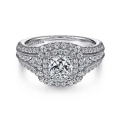 Henrietta 14k White Gold Cushion Cut Double Halo Engagement Ring