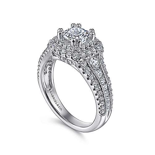 Henrietta 14k White Gold Cushion Cut Double Halo Engagement Ring angle 3