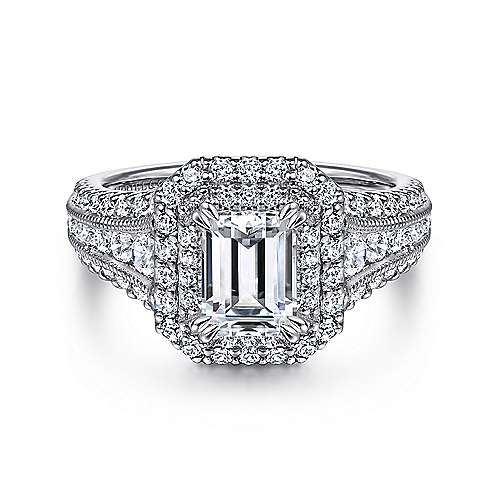 Gabriel - Henrietta 14k White Gold Emerald Cut Double Halo Engagement Ring