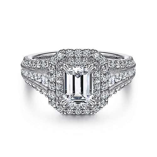 Gabriel - Henrietta 14k White Gold Emerald Cut Double Halo Engagement Ring