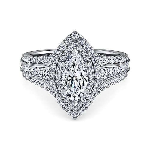 Gabriel - Henrietta 14k White Gold Marquise  Double Halo Engagement Ring