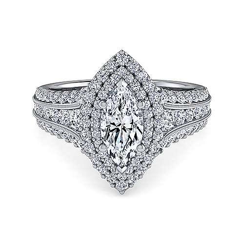 Gabriel - Henrietta 14k White Gold Marquise  Double Halo Engagement Ring