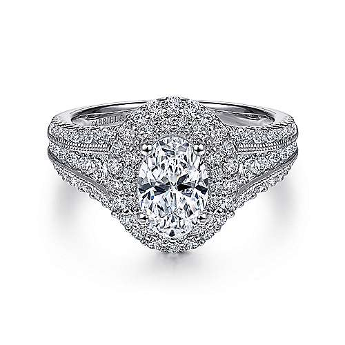 Gabriel - Henrietta 14k White Gold Oval Double Halo Engagement Ring