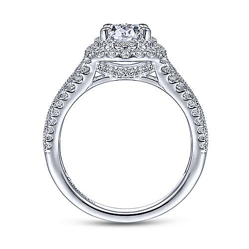 Henrietta 14k White Gold Oval Double Halo Engagement Ring angle 2