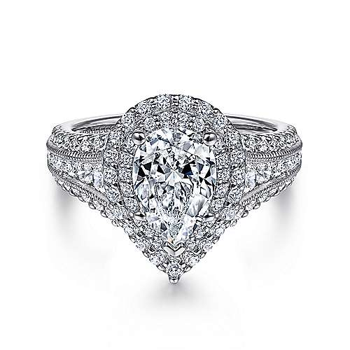 Gabriel - Henrietta 14k White Gold Pear Shape Double Halo Engagement Ring