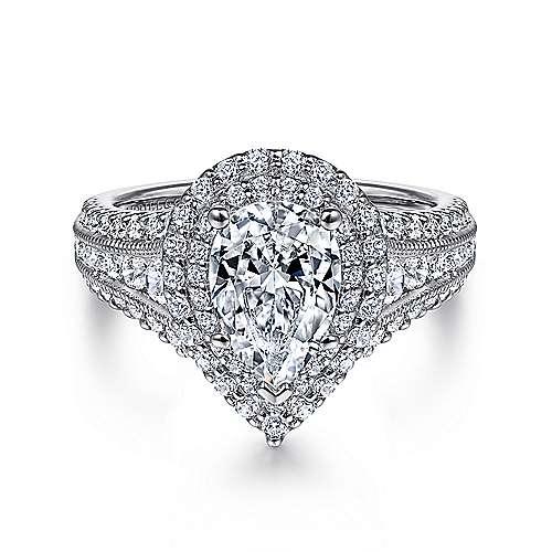 Gabriel - Henrietta 14k White Gold Pear Shape Double Halo Engagement Ring