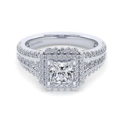Gabriel - Henrietta 14k White Gold Princess Cut Double Halo Engagement Ring