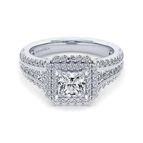 Gabriel - Henrietta 14k White Gold Princess Cut Double Halo Engagement Ring