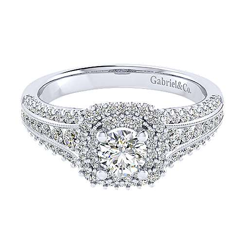 Gabriel - Henrietta 14k White Gold Round Double Halo Engagement Ring