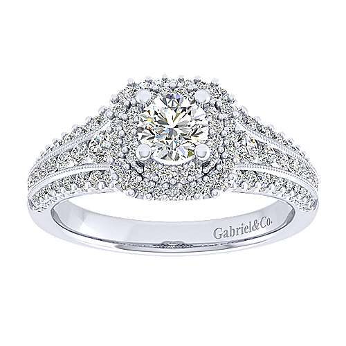 Henrietta 14k White Gold Round Double Halo Engagement Ring