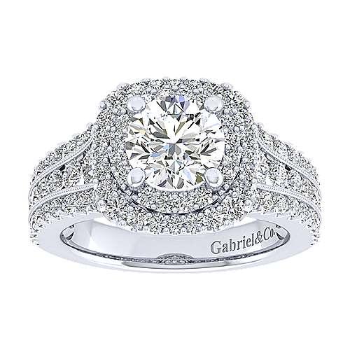 Henrietta 14k White Gold Round Double Halo Engagement Ring