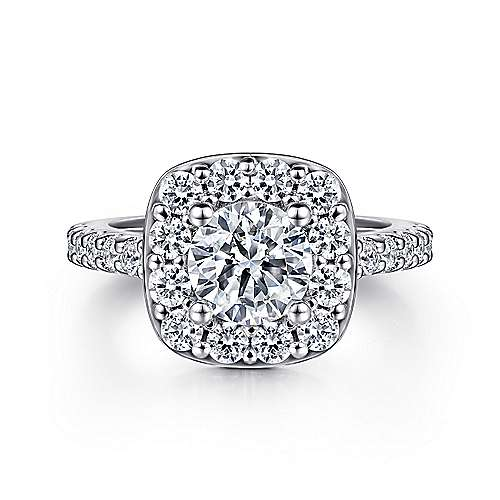 Gabriel - Henrietta 14k White Gold Round Halo Engagement Ring