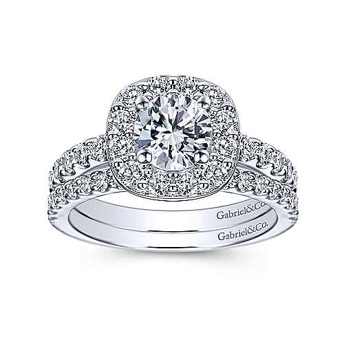 Henrietta 14k White Gold Round Halo Engagement Ring angle 4
