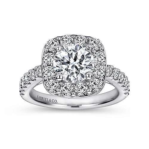 Henrietta 14k White Gold Round Halo Engagement Ring angle 5
