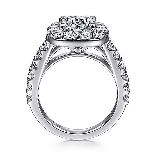 Henrietta 14k White Gold Round Halo Engagement Ring angle 2