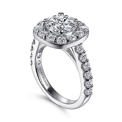 Henrietta 14k White Gold Round Halo Engagement Ring angle 3