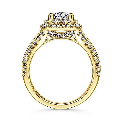 Henrietta 14k Yellow Gold Round Double Halo Engagement Ring