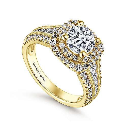 Henrietta 14k Yellow Gold Round Double Halo Engagement Ring angle 3