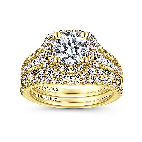 Henrietta 14k Yellow Gold Round Double Halo Engagement Ring angle 4