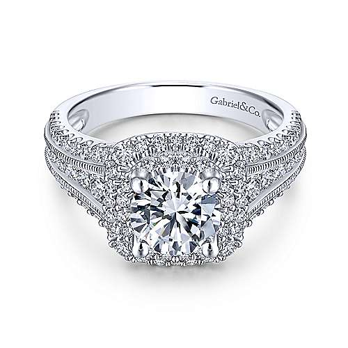 Gabriel - Henrietta 18k White Gold Round Double Halo Engagement Ring