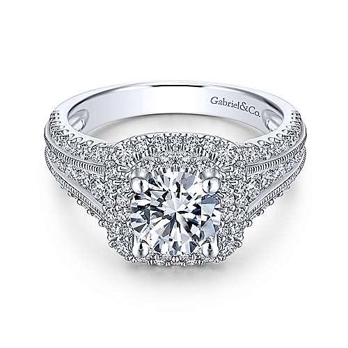 Gabriel - Henrietta 18k White Gold Round Double Halo Engagement Ring