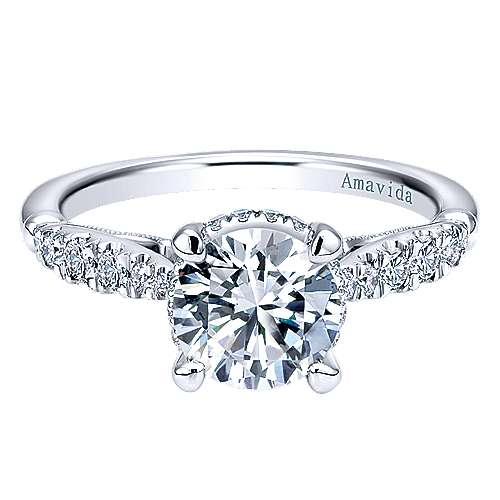 Gabriel - Herlene 18k White Gold Round Halo Engagement Ring
