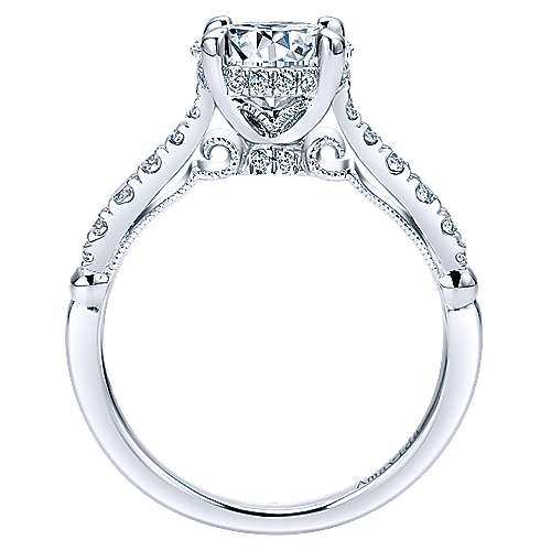 Herlene 18k White Gold Round Halo Engagement Ring angle 2