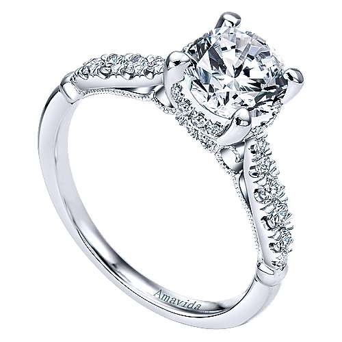 Herlene 18k White Gold Round Halo Engagement Ring angle 3
