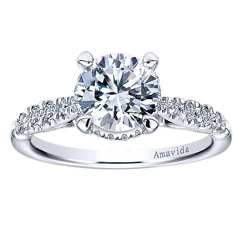 Herlene 18k White Gold Round Halo Engagement Ring angle 5