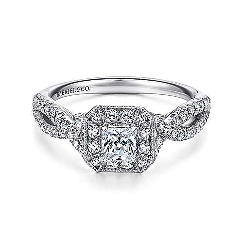 Gabriel - Hero 14k White Gold Princess Cut Halo Engagement Ring