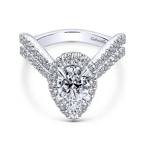 Gabriel - Hibiscus 18k White Gold Pear Shape Halo Engagement Ring