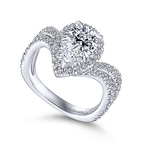 Hibiscus 18k White Gold Pear Shape Halo Engagement Ring angle 3
