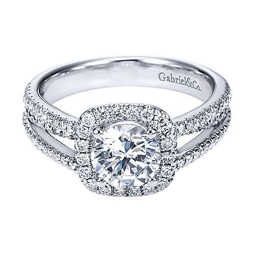 Gabriel - Hillary 14k White Gold Round Halo Engagement Ring