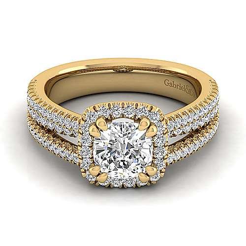 Hillary 14k Yellow Gold Cushion Cut Halo Engagement Ring angle 1