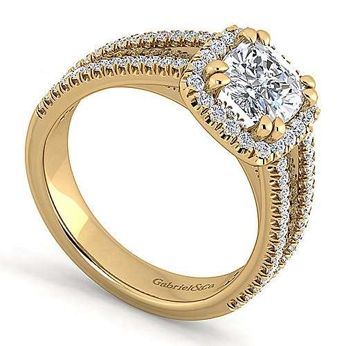 Hillary 14k Yellow Gold Cushion Cut Halo Engagement Ring angle 3