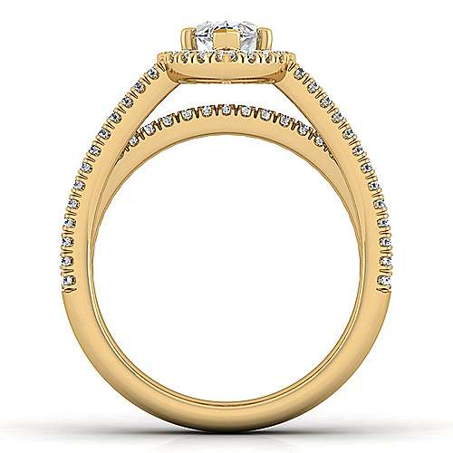 Hillary 14k Yellow Gold Marquise  Halo Engagement Ring angle 2