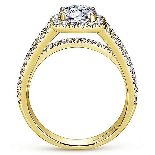 Hillary 14k Yellow Gold Round Halo Engagement Ring angle 2