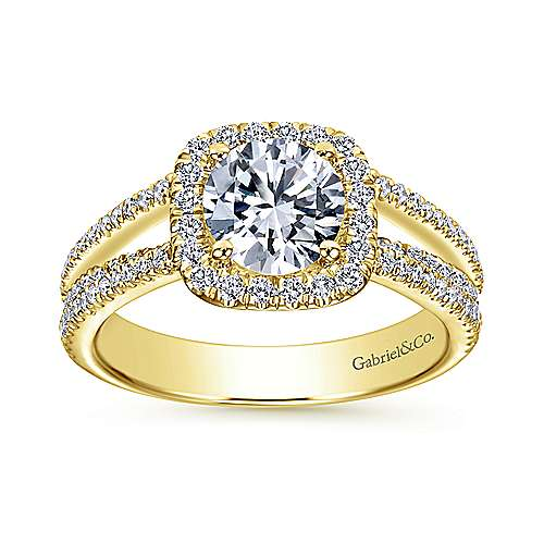 Hillary 14k Yellow Gold Round Halo Engagement Ring angle 5