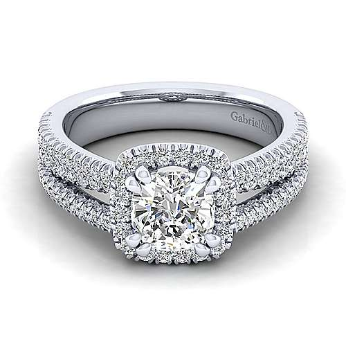 Hillary Platinum Cushion Cut Halo Engagement Ring angle 1