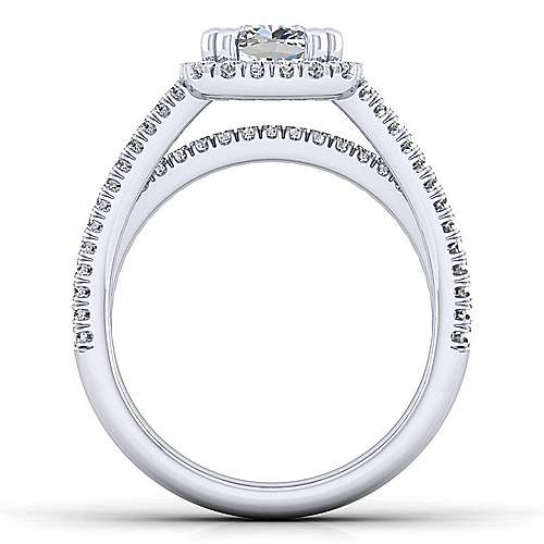 Hillary Platinum Cushion Cut Halo Engagement Ring angle 2