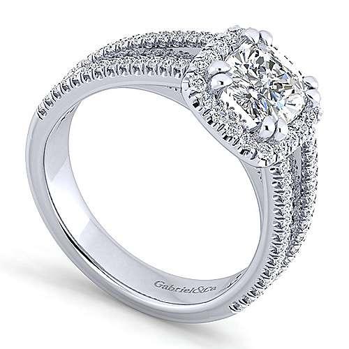 Hillary Platinum Cushion Cut Halo Engagement Ring angle 3