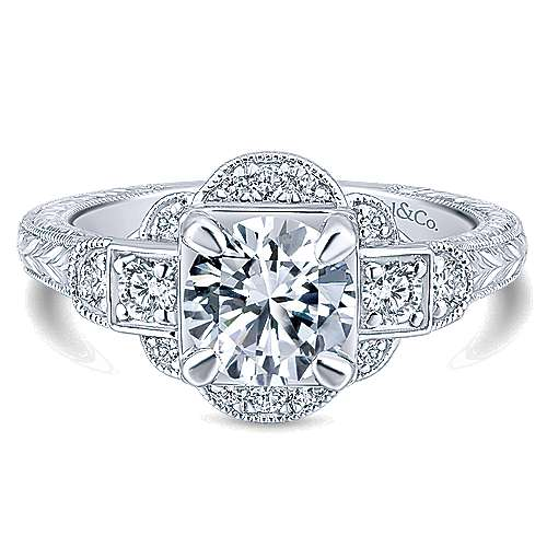 Gabriel - Hillcrest 14k White Gold Round 3 Stones Engagement Ring