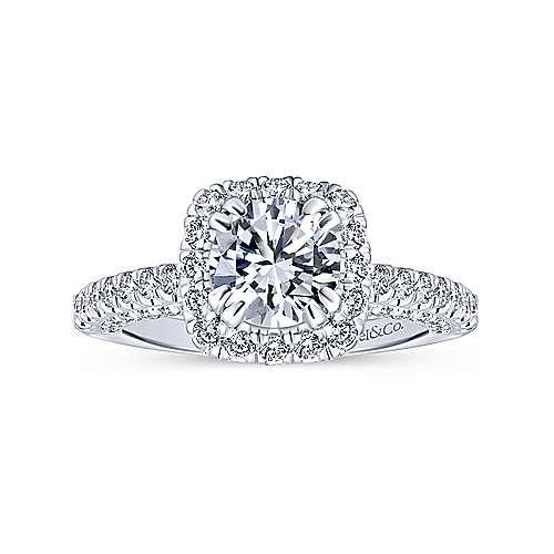 Holland 14k White Gold Round Halo Engagement Ring angle 5
