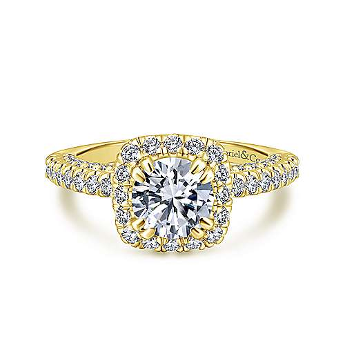 Gabriel - Holland 14k Yellow Gold Round Halo Engagement Ring