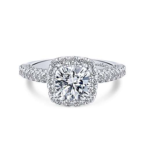 Gabriel - Holland 18k White Gold Round Halo Engagement Ring